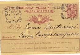 ITALIE 1893        ENTIER POSTAL/GANZSACHE/POSTAL STATIONERY CARTE MANDAT DE VENEZIA - Interi Postali