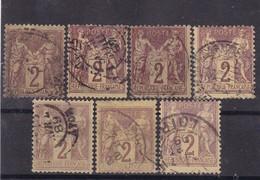 # Z.10879 France Republic 1877 - 80 Type II. 7 X Value 2 C. Used, Yvert 85, Michel 69: Pax & Mercur - 1876-1898 Sage (Tipo II)