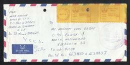 Saudi Arabia EMS Meter Mark Air Mail Postal Used Cover YANBU AL ASSINA AYAH To Pakistan - Saudi Arabia