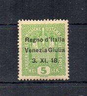 Italia - 1918 -Terre Redente - Venezia Giulia - Francobollo D'Austria Da 5 Heller Sovrastampato - Nuovo * - (FDC18858) - Venezia Giulia