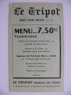 Menu Le Tripot Mont Saint Michel Manche 50 Agneau De Pré Salé Omelette Huitres - Menus