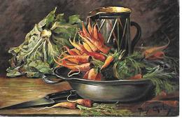 Illustrator -  Mary Golay - Still Life, Stilleben, Nature Morte, Carrots, Knife, Cabbage, Jug On The Table - Autres Illustrateurs