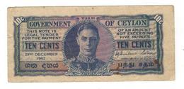 Ceylon (Sri Lanka) 10 Cents 1943. VF. - Sri Lanka