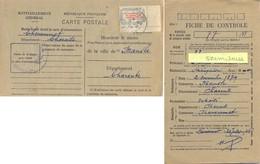 CARTE DE RAVITAILLEMENT GÉNÉRAL – MAIRIE DE CHENOMMET CHARENTE TàD BUREAU RECETTE De AUNAC Du 8-8-46 - 1921-1960: Periodo Moderno