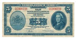 Netherlands Indies 5 Gulden 1943. VF+. - Indes Neerlandesas