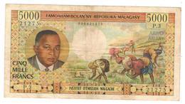 MADAGASCAR, 5000 Francs (1966) , P60 . Rare. - Madagascar