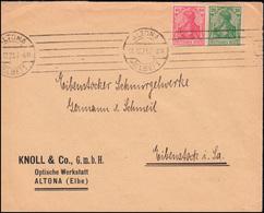 143+145 Germania-MiF Auf Brief Von ALTONA/ELBE 10.12.21 Nach Eibenstock/Sachsen  - Allemagne