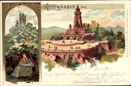 Lithographie Steinthaleben Kyffhäuserland In Thüringen, Kaiser Wilhelm Denkmal Auf Dem Kyffhäuser - Duitsland