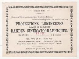 1910 PARIS INONDATIONS - CARTON INVITATION PROJECTIONS LUMINEUSES SUIVIES DE QUELQUES BANDES CINEMATOGRAPHIQUES - Werbetrailer