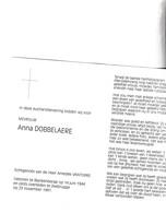 A.DOBBELAERE °BLANKENBERGE 1944 +ZEEBREUGGE 1991 (A.VANTORRE) - Images Religieuses