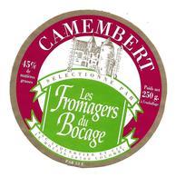 ETIQUETTE De FROMAGE..CAMEMBERT Sélectionné Les Fromages Du Bocage..SNC LEQUERTIER Et Cie Le Moulin à COLOMBY (50) - Fromage