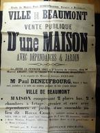 """Ville De Beaumont Vente Publique D'une Maison Lieu Dit """"Rouge Croix"""" - Affiches"""