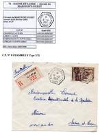 Poste Automobile Rurale De Saône Et Loire Circuit De Marcigny Ouest CP N°8 Chambilly Type 2/32 En Recommandé - Postmark Collection (Covers)
