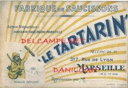 13 // MARSEILLE    Fabrique De Saucissons  LE TARTARIN / Carte Publicitaire  ** - Marseille