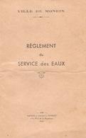 Livret De La Ville De Monein (64), Règlement Du Service Des Eaux, Librairie Tonnet à Pau, 1949, 10 Pages, Bon état - Boeken, Tijdschriften, Stripverhalen