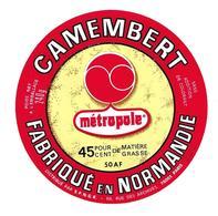 ETIQUETTE De FROMAGE..CAMEMBERT Fabriqué En NORMANDIE (Manche 50 AF)..METROPOLE - Fromage