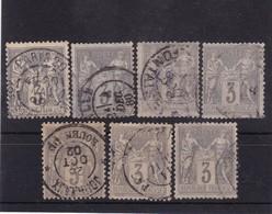 # Z.10882 France Republic 1877 - 80 Type II. 7 X Value 3 C. Grey, Brown, Used, Yvert 87, Michel 70 (?): Pax & Mercur - 1876-1898 Sage (Tipo II)