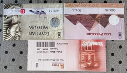 2008-ticket Egypte  Pyramide Giza-musee--petra Jordanie--2009-PEROU- BILLET DE SALINES-.MACHUPICCHU - Biglietti D'ingresso