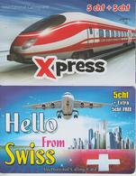 SWITZERLAND - PHONE CARD - PRÉPAID - 1 X TRAIN & 1 X AVION  *** - Treni