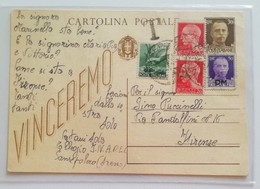 "Cartolina Postale ""vinceremo"" Usata Nel 1946, Tassata - 03/02/1946 - Storia Postale"