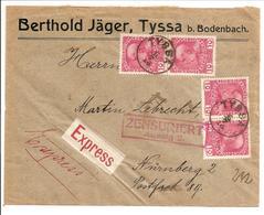 Österreich Expresse 4x 10H Franz Joseph Mi 144 Tyssa>Nürnberg. Zensur Aussig 2 - Briefe U. Dokumente