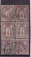 # Z.10884 France Republic 1877 - 80 Type II. 6 X Value 4 C. Used, Yvert 88, Michel 71: Pax & Mercur - 1876-1898 Sage (Type II)