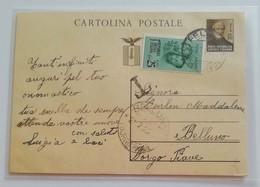 Cartolina Postale Tassata Feltre-Belluno - 23/07/1945 - 4. 1944-45 Repubblica Sociale