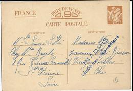 """1941 - CARTE ENTIER IRIS INADMIS """"LIBELLE NON REGLEMENTAIRE"""" ! De ST ETIENNE (LOIRE) => VIERZON (CHER) - Marcophilie (Lettres)"""