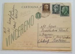 """Cartolina Postale """"vinceremo"""" Per Positano - 28/03/1945 """"tricolore"""" - Storia Postale"""