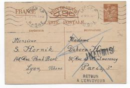 1941 - CARTE ENTIER IRIS ECRITE En ALLEMAND ! INADMIS De LYON => PARIS => RETOUR - Marcophilie (Lettres)