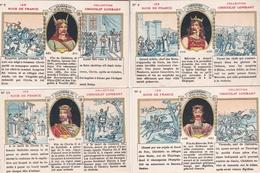 Lot De 4 Chromos  -  Les Rois De France - Clovis1er - Clotaire III - Childéric , Mérovée - Chocolat LOMBART - Lombart