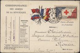 Guerre 14 CP FM Correspondance Armées République Drapeaux Alliés Vignette Croix Rouge Française Secours Blessés - Marcofilia (sobres)