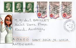 Belle Lettre France 2019, Pasteur,  Adressée Andorra, Avec Timbre à Date Arrivée - Louis Pasteur