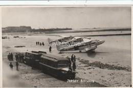 JERSEY Airways St. Aubin's Beach With Aircraft & Tanker RP  Jy87 - Jersey