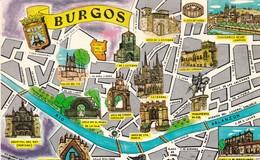ESPAGNE.  BURGOS.   PLAN ILLUSTRE DE LA VILLE ET DES SITES TOURISTIQUES. ANNEE 1964 - Burgos
