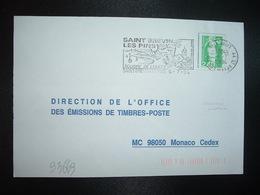 LETTRE TP M. DE BRIAT 2,40 OBL.MEC. VARIETE 6-7 1994 44 ST BREVIN LES PINS LOIRE ATL. SOURIRE DE L'OUEST - Marcophilie (Lettres)