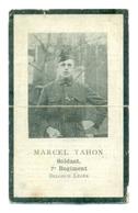 WO1 / WW1 - Doodsprentje Tahon Marcel - Houtem / Maria-Aalter / De Panne - Gesneuvelde - Obituary Notices