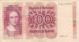 BILLETE DE NORUEGA DE 100 KRONER DEL AÑO 1987  (BANKNOTE) - Noruega
