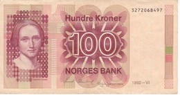BILLETE DE NORUEGA DE 100 KRONER DEL AÑO 1992  (BANKNOTE) - Norvegia