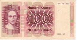 BILLETE DE NORUEGA DE 100 KRONER DEL AÑO 1994  (BANKNOTE) - Noruega
