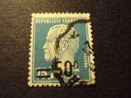 """1926-27 Oblitéré   N° 219    """"  PASTEUR Surchargé,   50c Sur 75c Bleu      """"  2ème Choix     Net         0.20 - 1922-26 Pasteur"""
