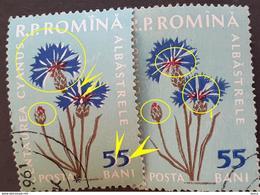 "Error Romania 1960, MI 1817 With Double ""55"" White Color, White Petale Flower Used - Variedades Y Curiosidades"
