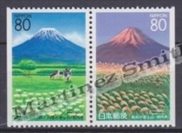 Japan - Japon 1997 Yvert 2323a-24a, Mount Fuji Summer & Autumn, Shizuoka - From Booklet - MNH - Nuevos