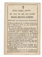 Maaseik  Doodsprentje 1848  MARIA HELENA SYBERS WEDUWE V THEODORUS WACKERS - Godsdienst & Esoterisme