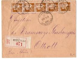 Paix 60c X5 Sur Lettre Recommandée De 1940 - Marcophilie (Lettres)