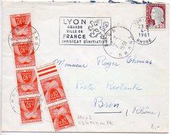 Taxe Gerbes 010 X6 Sur Lettre Affranchie Marianne De Decaris De 1961 En Poste Restante (60c = Taxe De 3 Lettres En PR) - Lettere Tassate