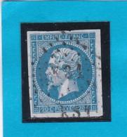 """N° 14 A + OBLIT. DE PARIS """" KS1  Baton """"  Bureau Rue TAITBOUT  - REF 14112- + Variété - 1853-1860 Napoléon III"""