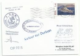 YT 916 Bateau De Coisière SA Vaal - Posté à Bord Du MD - Escale à Durban - 01/10/1997 - Lettres & Documents