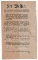 """WW2 - Im Weften Et Im Dften. (""""Au Four  Et """"Au Milieu"""") Tract, Flyer, Broschüre - Documentos Históricos"""