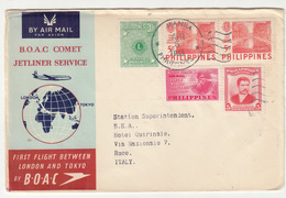BOAC Comet Jetliner Service First Flight London And Tokyo 2 Letter Covers Philippines 1953 B191210 - Aerei